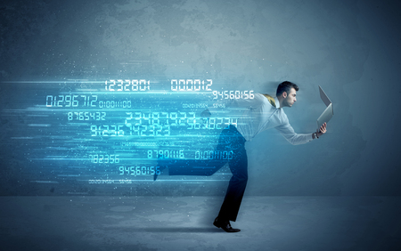 high tech device: Business man running with media device and high tech wireless data concept on background Stock Photo