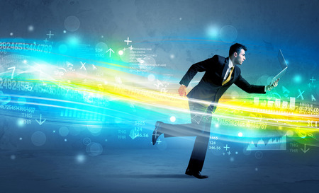 high tech device: Business man running with device in high tech wave cloud concept on background