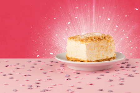 tasteful: Sparkling tasteful home made sugar cake with coloful background Stock Photo