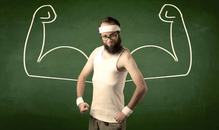imagining: A young man with beard and glasses posing in front of green background, imagining how he would look like with big muscles, illustrated by minimalist white drawing concept.