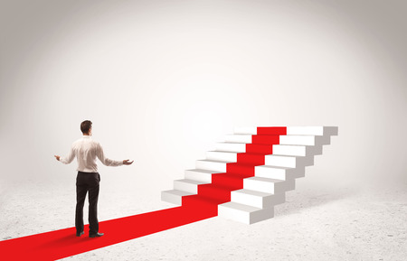 carpet clean: A successful businessman with briefcase standing on red carpet in front of steps in white space concept