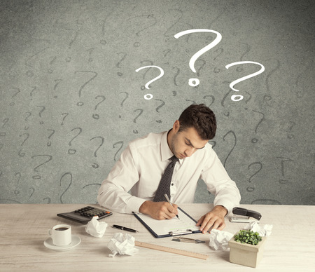 bad planning: A confused busy elegant office worker in trouble with illustrated question marks concept