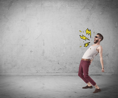 heavily: An angry hipster guy in casual clothes shouting heavily with drawn thunder sign illustration concept