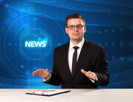 tehnology: Modern televison presenter telling the news with tehnology background concept Stock Photo