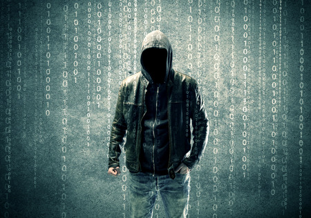 hidden danger: An adult online anonymous internet hacker with invisible face in urban environment and number codes illustration concept