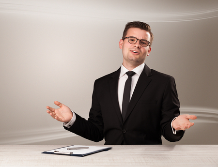 Televison presenter host in live show with blank background Stock Photo