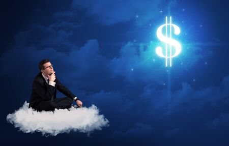 Caucasian businessman sitting on a white fluffy cloud wondering about huge money sign