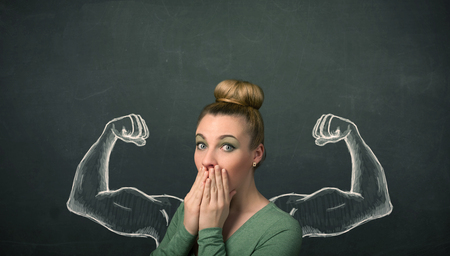 gesticulation: Pretty young woman with sketched strong and muscled arms