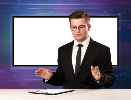 newsreader: Television program host with big copy screen in his back concept