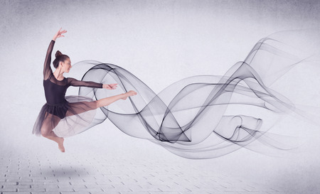modern ballet dancer: Modern ballet dancer performing with abstract swirl concept on background Stock Photo