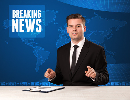presenter: Television presenter in front telling breaking news with blue modern background concept Stock Photo
