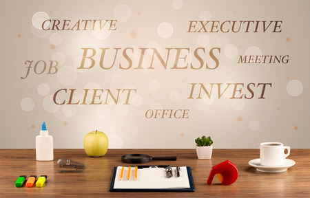 pencils  clutter: Business job office concept with close up wooden desk and materials, papers and electronic equipement