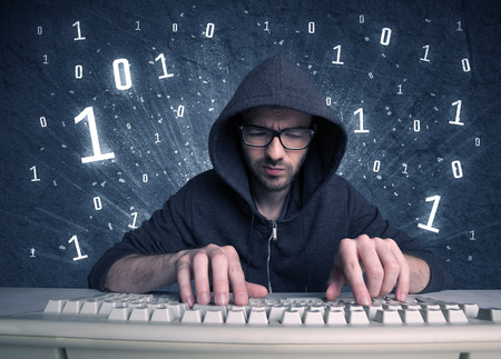 passwords: A funny hacker working hard on online passcode scanning and solving passwords with 0 1 numbers illustration in background concept Stock Photo