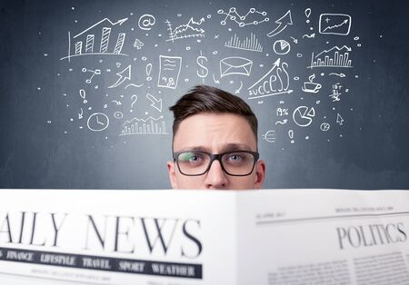weather report: Young smart businessman reading daily newspaper with business plan graphics above his head