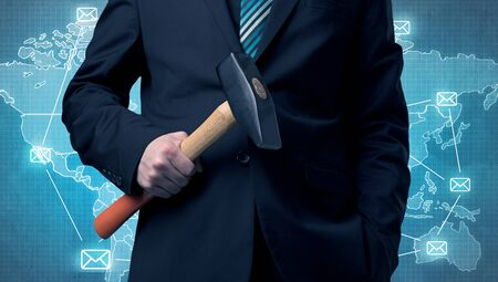architect tools: Businessman holding tool with map on the background.
