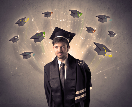 commencement: College graduate with many flying hats on grunge background