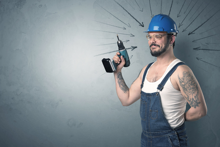 quickness: Working man with tools in his hand and arrows above his head. Stock Photo