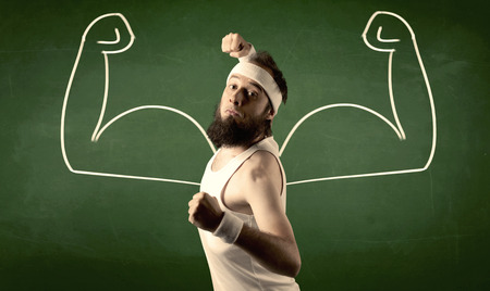 frail: A young man with beard and glasses posing in front of green background, imagining how he would look like with big muscles, illustrated by minimalist white drawing concept.
