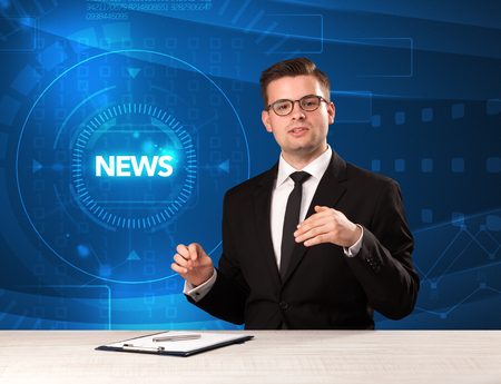 Modern televison presenter telling the news with tehnology background concept Stock Photo