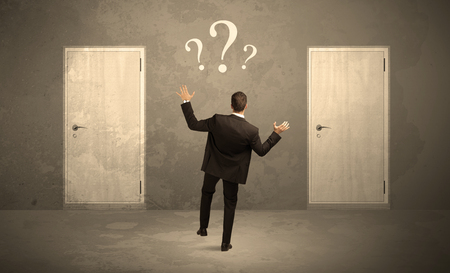 considerations: Salesman standing in front of two doors, unable to make the right decision concept with question marks above his head