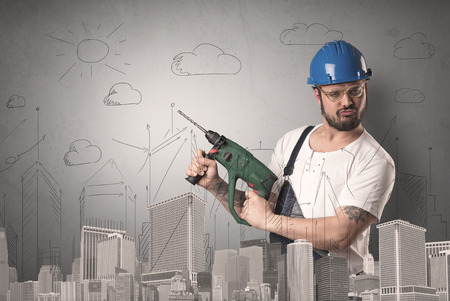 quickness: Handyman with tool in his hand and cityscape nearby.