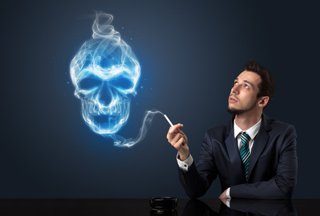 renounce: Businessman smoking with skull simbol above his head.