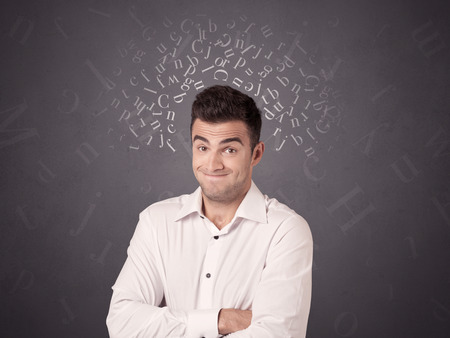 word of mouth: Young casual businessman with white alphabet around his head