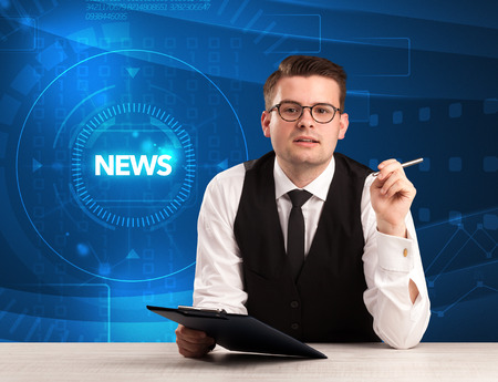 live stream tv: Modern televison presenter telling the news with tehnology background concept Stock Photo