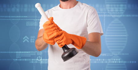 dns: Crowd cleaning theme with male housekeeper and DNS concept wallpaper