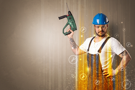 quickness: Manual worker with wrench symbols and tool. Stock Photo