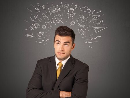Young businessman with white social icons around his head