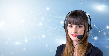 Young female telemarketer with blue background and connectivity concept