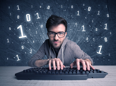 A funny hacker working hard on online passcode scanning and solving passwords with 0 1 numbers illustration in background concept Stock Photo