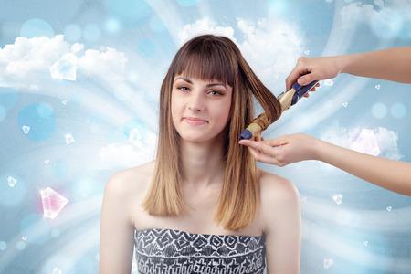 Pretty girl portrait prepare with diamonds and cloudy wallpaper