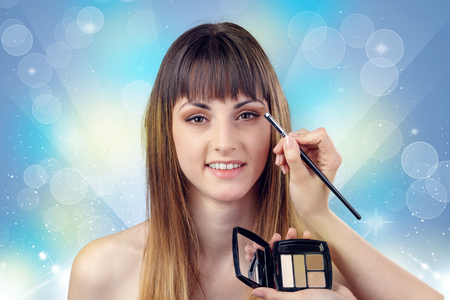 Skinny young girl portrait in beauty salon with colourful shiny concept  Stock Photo