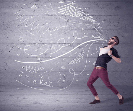 A mad hipster guy with beard shouting drawn white lines, curves on concrete urban wall illustration background concept Stock Photo
