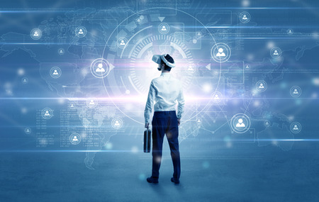 Manager with vr headset and social network research concept  Stock Photo