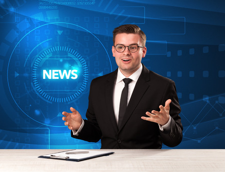 Modern televison presenter telling the news with tehnology background concept Foto de archivo