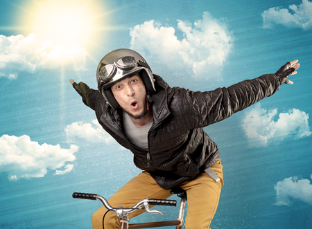 Nerd rider with bicycle and nice weather Stock Photo
