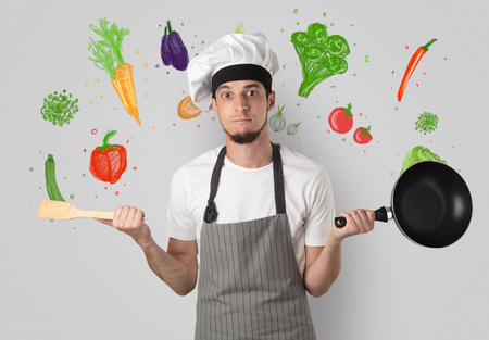 Cook with colourful drawn vegetables