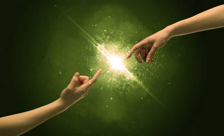 Touching arms lighting spark at fingertip