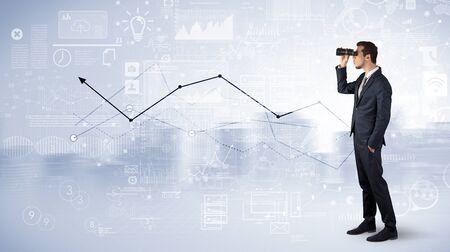 Man looking forward to increase graph concept Stock Photo