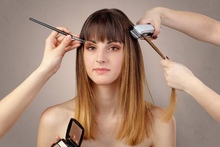 Portrait of a young woman at cosmetician