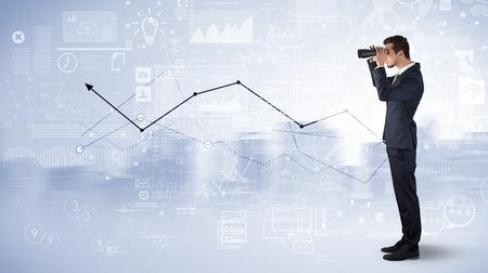 Man looking forward to increase graph concept Reklamní fotografie