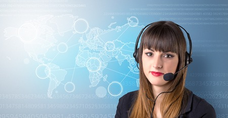 Young female telemarketer