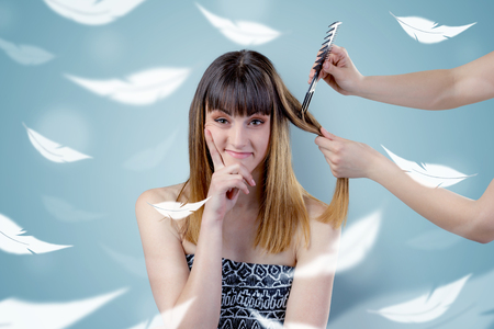 Pretty woman at salon with ethereal concept