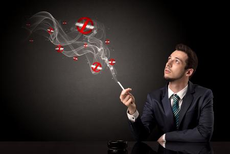 Businessman smoking concet Banco de Imagens