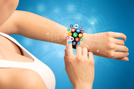 Smartwatch with application icons.