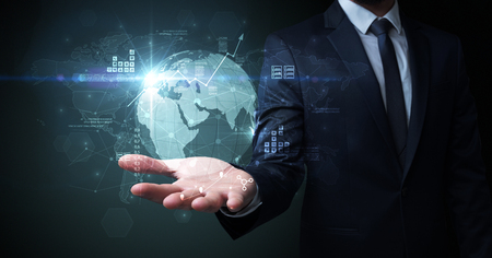 Global internet using concept with businessman Banque d'images