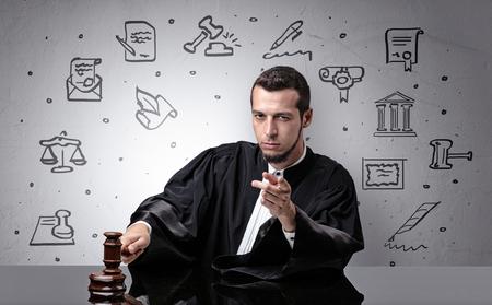 Young judge with court symbols around